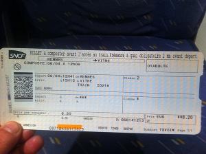 Billete del tren a Vitré